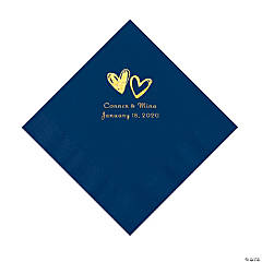 Navy Hearts Personalized Napkins with Gold Foil - Luncheon
