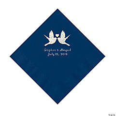 Navy Love Birds Personalized Napkins with Silver Foil - Luncheon