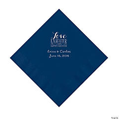 Navy Love Laughter & Happily Ever After Personalized Napkins with Silver Foil - Luncheon