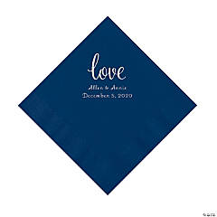 Navy Love Script Personalized Napkins with Silver Foil - Luncheon