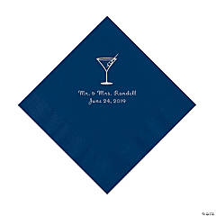 Navy Martini Glass Personalized Napkins with Silver Foil - Luncheon