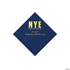 Navy New Year's Eve Personalized Napkins with Gold Foil - Beverage