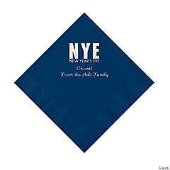 Navy New Year's Eve Personalized Napkins with Silver Foil - Luncheon