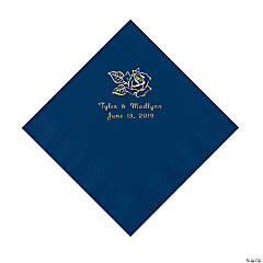 Navy Rose Personalized Napkins with Gold Foil - Luncheon