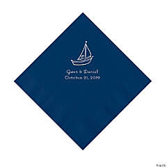 Navy Sailboat Personalized Napkins with Silver Foil - Luncheon
