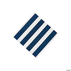 Navy Striped Beverage Napkins