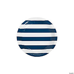 Navy Striped Paper Dessert Plates