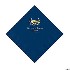 Navy Thank You Personalized Napkins with Gold Foil - Luncheon