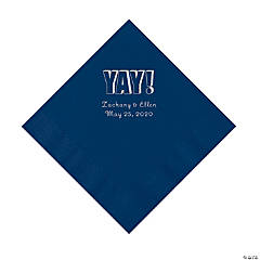 Navy Yay Personalized Napkins with Silver Foil - Luncheon