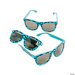 Neon Blue Nomad Sunglasses with Mustache Print