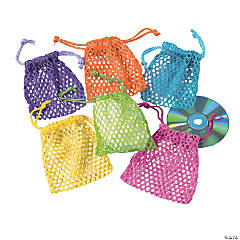 Neon Mesh Drawstring Treat Bags