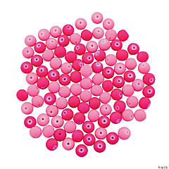 Neon Pink Rubber-Coated Round Beads