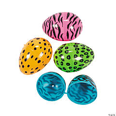 Neon Print Animal Plastic Easter Eggs - 72