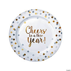 New Year Dot Paper Dinner Plates