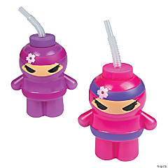 Ninja Girl Cups with Lids & Straws