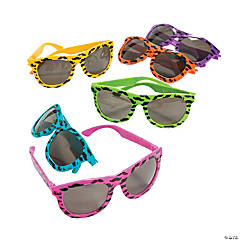 Nomad with Mustache Print Neon Sunglasses
