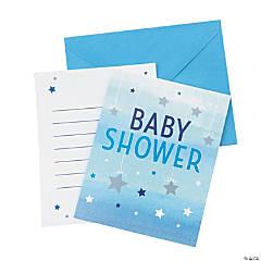 One Little Star Boy Baby Shower Invitations