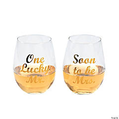 One Lucky Mr./Soon to be Mrs. Stemless Wine Glasses