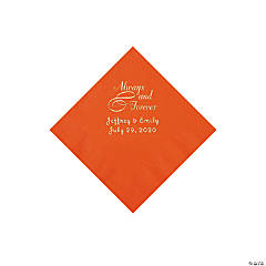 Orange Always & Forever Personalized Napkins with Silver Foil - Beverage