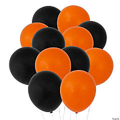 Orange & Black Latex Balloon Assortment
