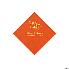 Orange Best Day Personalized Napkins with Gold Foil - Beverage