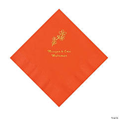 Orange Blossom Branch Personalized Napkins with Gold Foil - Luncheon
