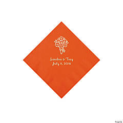 Orange Bouquet Personalized Napkins with Silver Foil - Beverage