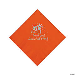 Orange Champagne Personalized Napkins with Silver Foil - Beverage