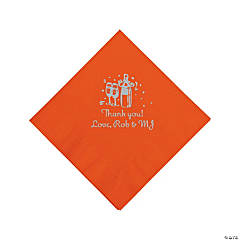 Orange Champagne Personalized Napkins with Silver Foil - Luncheon