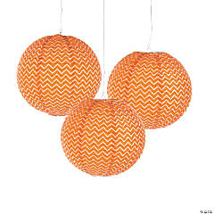 Orange Chevron Hanging Paper Lanterns