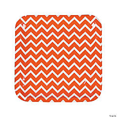 Orange Chevron Paper Dinner Plates