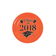 Orange Class of 2018 Grad Party Dessert Paper Plates