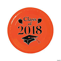 Orange Class of 2018 Grad Party Dinner Paper Plates