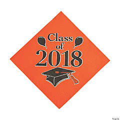 Orange Class of 2018 Grad Party Luncheon Napkins