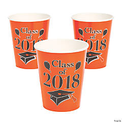 Orange Class of 2018 Grad Party Paper Cups