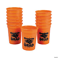 "Orange ""Congrats Grad"" Cups"