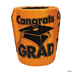 Orange Congrats Grad Graduation Plastic Trash Can Cover