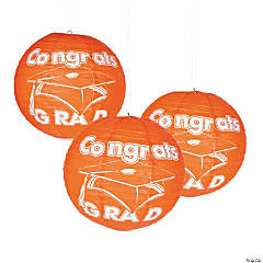 Orange Congrats Grad Hanging Paper Lanterns
