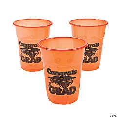 "Orange ""Congrats Grad"" Plastic Cups"