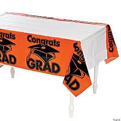 Orange Congrats Grad Plastic Tablecloth