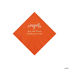 Orange Congrats Personalized Napkins with Silver Foil - Beverage