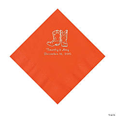 Orange Cowboy Boots Personalized Napkins - Luncheon