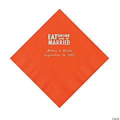 Orange Eat, Drink And Be Married Napkins with Silver Foil - Luncheon