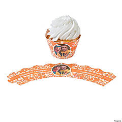 Orange Flourish Custom Photo Cupcake Wrappers
