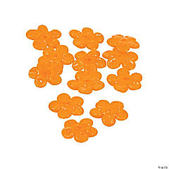 Orange Flower Lampwork Beads - 16mm