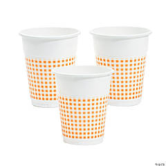Orange Gingham Disposable Cups