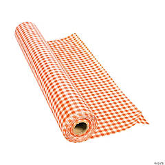 Orange Gingham Plastic Tablecloth Roll