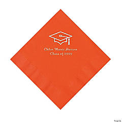 Orange Grad Mortarboard Personalized Napkins with Silver Foil – Luncheon