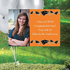 Orange Graduation Custom Photo Yard Sign
