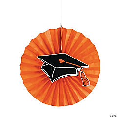 Orange Graduation Hanging Fans with Icons